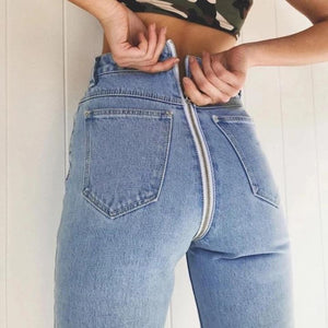 Back Zipper Jeans Capri