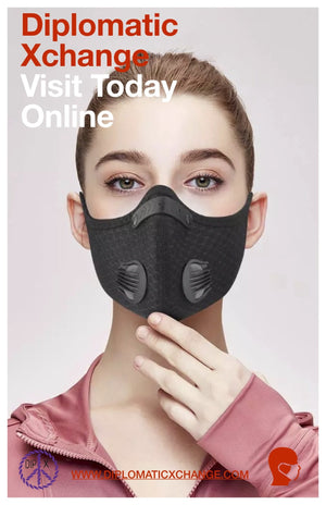 Washable Unisex Carbon Filtered Face Mask with 2 Breathing Valve 4 Pm 2.5 - Diplomatic Xchange