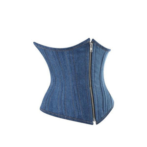Laced Denim Corset with front Zipper