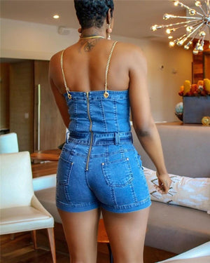 Beautiful Winning Gold Chain Strap Jean Romper