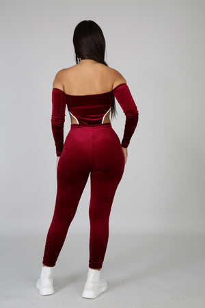 Two Piece Velvet Tracksuit with zipper Top