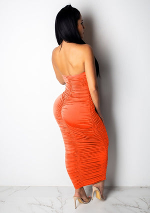 Strapless Open Back Bodycon Dress