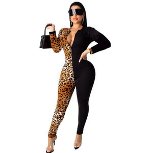 One Sided Leopard Print Jumpsuit
