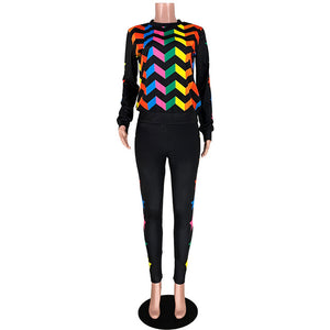 Two Set Multi Color Star Printed Tracksuit Set