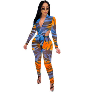 Patchwork Sheer Jumpsuit with Zipper