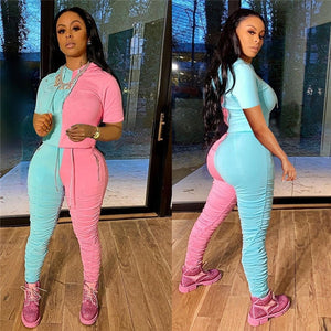 Color Block Two Piece Hooded Stacked Pants Tracksuit