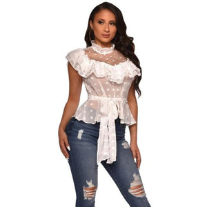 Foxy Boss Polka Dot Ruffled Mesh Peplum Top