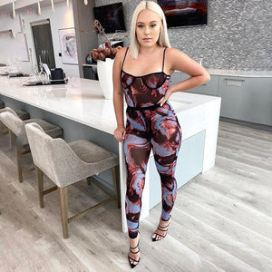 Camouflage Sheer Spaghetti Strap Jumpsuit