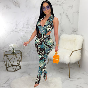 Sleeveless V-Neck Sheer Jumpsuit with Zipper
