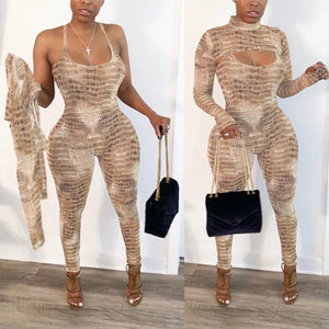 Snakeskin Long Sleeve Jumpsuit