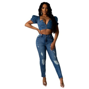 Harmony Crush Front Zip Puff Sleeve Crop Denim Top