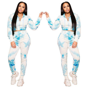Cuddly Thunderhead Tie Dye Zip Up Crop Top Hoodie with Knot Sweatpants Bliue