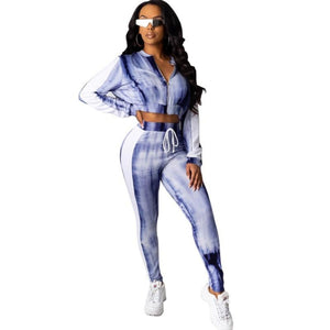 Sweet Treasure Blue White Tie Dye Sweatsuit
