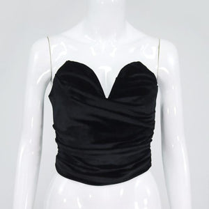Deep V Strapless Sleeveless Crop Top