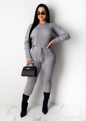 Black Long Sleeve Ribbed Jumpsuit