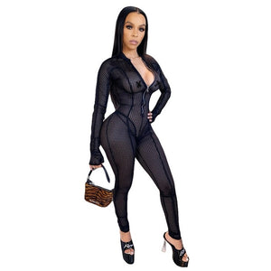 White Long Sleeve Bodycon Mesh Jumpsuit with Zipper