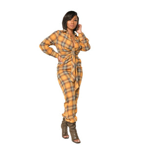 Sassy Plaid Bow Jumpsuit