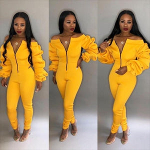 Extra Long Sleeve Jumpsuit with Zipper - Diplomatic Xchange