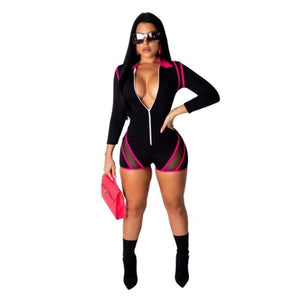 Reflective Longsleeve Mesh Romper with Zipper - Diplomatic Xchange
