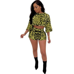 Yellow Two Piece Crop Top & Shorts Set