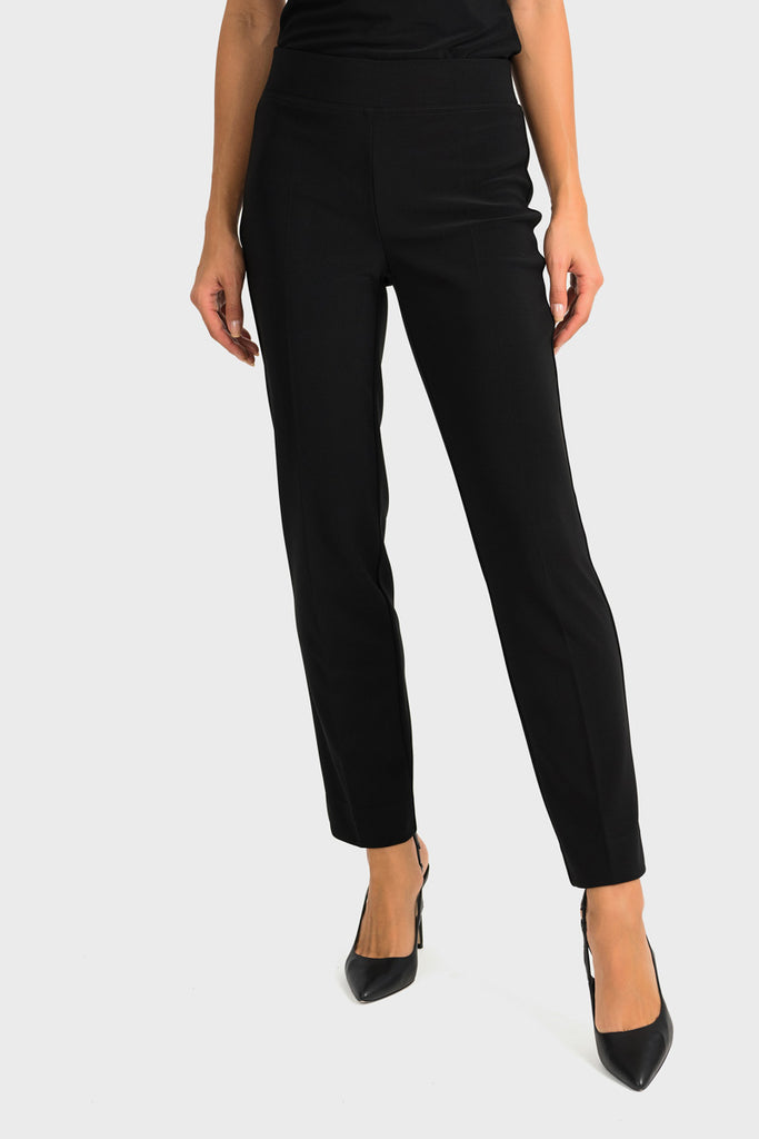 Front Black Ankle Slit Pant by Joseph Ribkoff