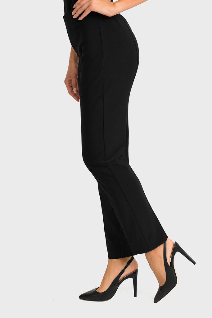 Side Black Ankle Slit Pant by Joseph Ribkoff