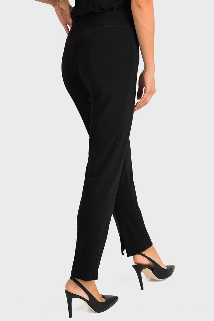 Back Black Ankle Slit Pant by Joseph Ribkoff