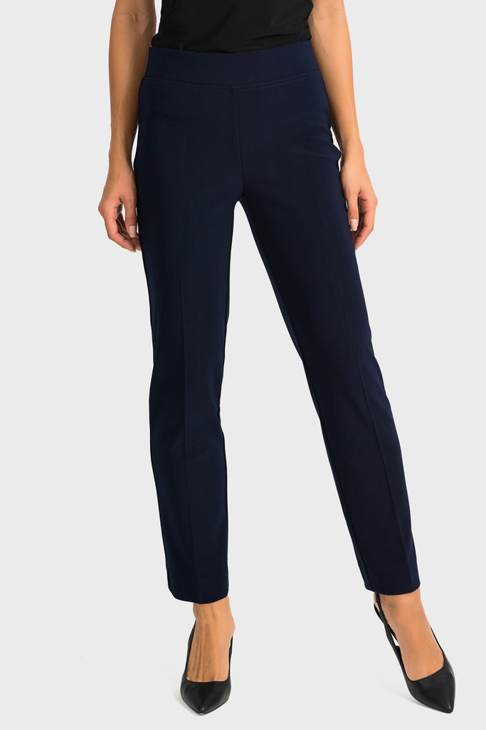 Front Navy Ankle Slit Pant by Joseph Ribkoff