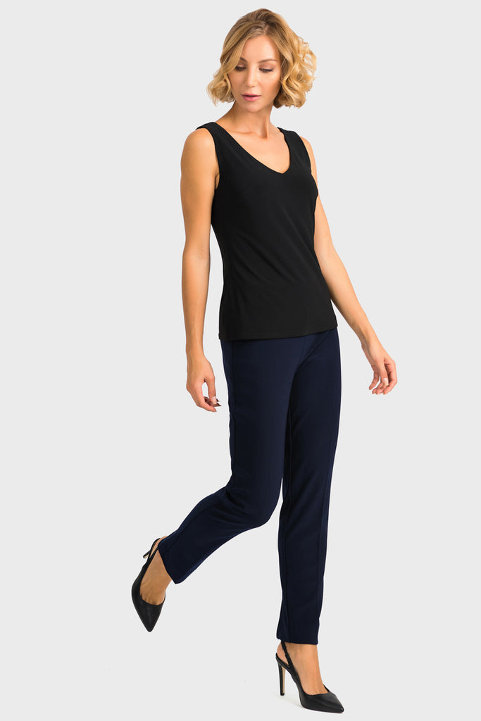 Full length Navy Ankle Slit Pant by Joseph Ribkoff