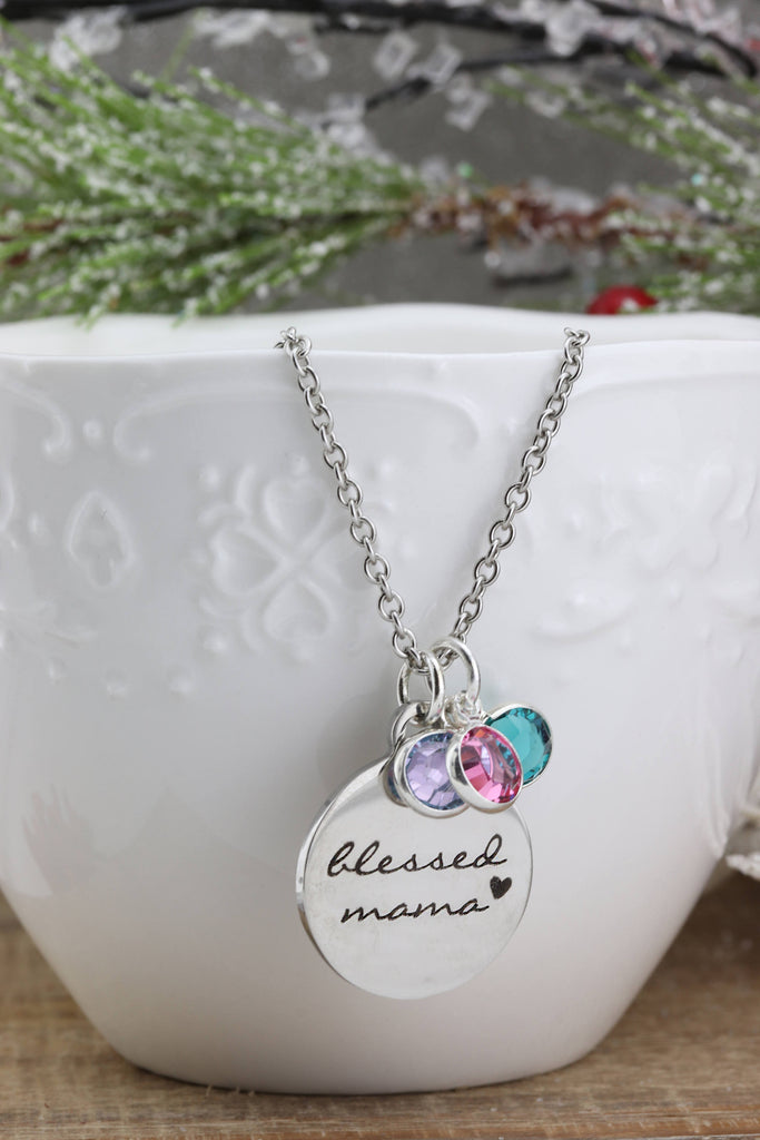 Blessed Mama Necklace - Blessed Mom Neckace - Mothers Jewelry - Personalized Necklace - Personalized Family Jewely - Gift for Mom