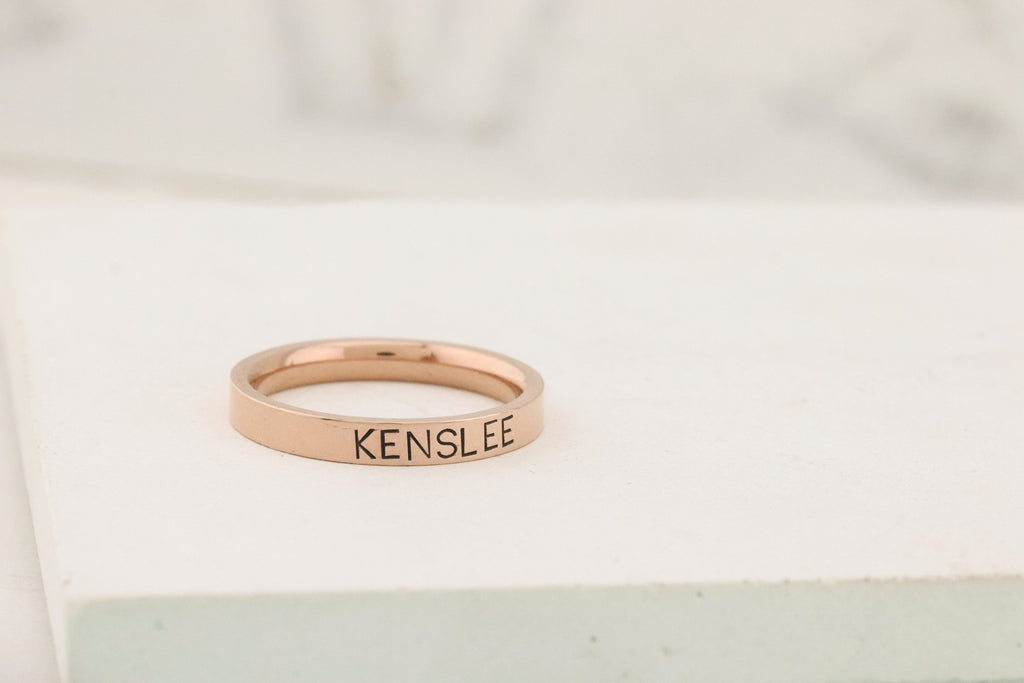 Rose Gold Personalized Ring - Mothers Rings - Hand Stamped Ring - Rosegold personalized ring - Stacking Ring - Name Ring - Engraved Ring