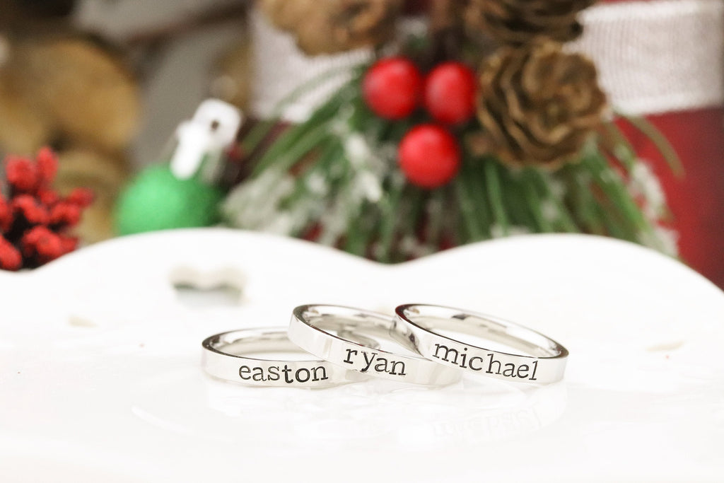 Silver Personalized Ring - Mothers Rings - Hand Stamped Ring - Stainless Steel personalized ring - Stacking Ring - Name Ring - Engraved Ring