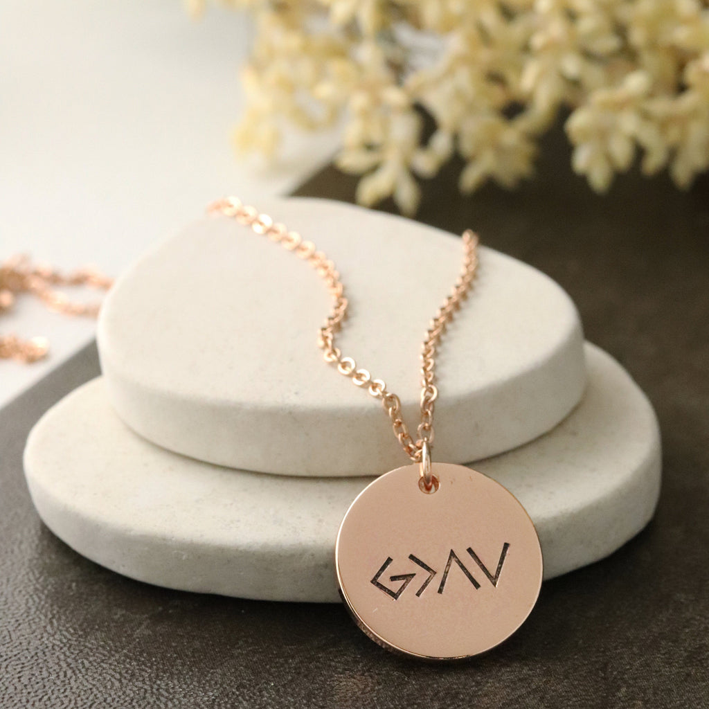 God is Greater Than the Highs and Lows Necklace - God is greater jewelry - Rose Gold God is Greater Necklace