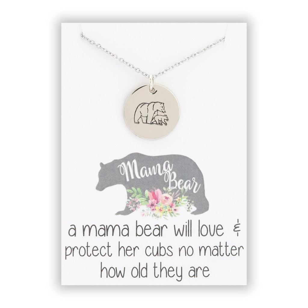 Mama Bear Pendant Necklace - Mama Bear jewelry - Mother Bear jewelry - momma bear pendant - momma bear necklace - momma bear jewelry