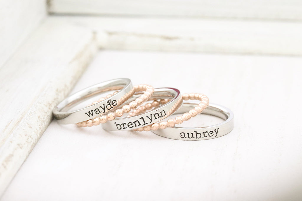 Rose Gold Stackable Ring - Personalized Ring - Mothers Rings - Hand Stamped Ring - Personalized rings -  Name Ring - Engraved Rings