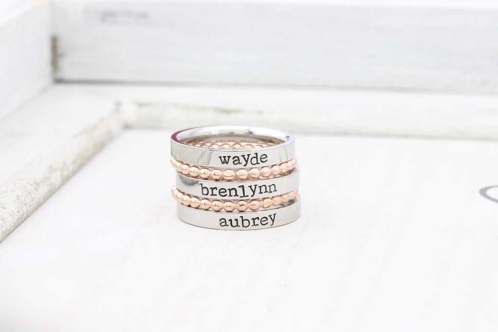 Gold Stackable Ring - Personalized Ring - Mothers Rings - Hand Stamped Ring - Personalized rings - Name Ring - Engraved Rings -Stacking Ring