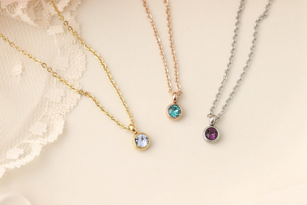 Tiny Birthstone Necklace - Necklace with Birthstones- Birthstone Necklace for Mom - Necklace with Birthstones - Personalized Gifts For Mom