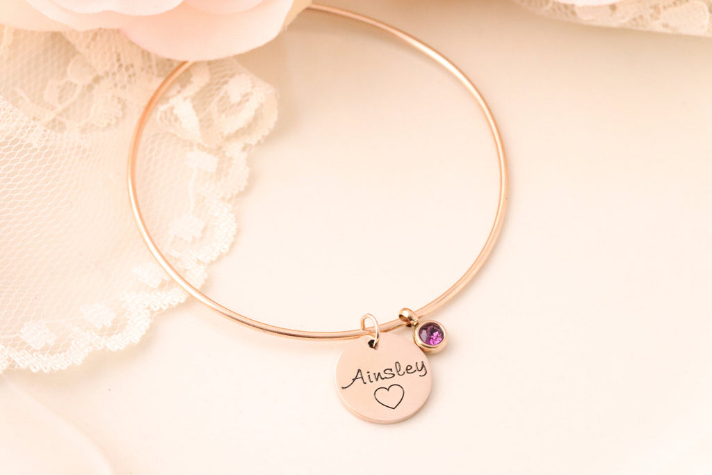 Name and Birthstone Bracelet - Birthstone Jewelry - Gift for Teenager - Sweet 16 Bracelet - Gift for Daughter - Personalized Bangle -