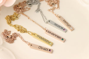 Birthstone Bar Necklace - Name & Birthstone Necklace - Vertical Bar Necklace - Necklace with Birthstones - Vertical Birthstone Bar Necklace