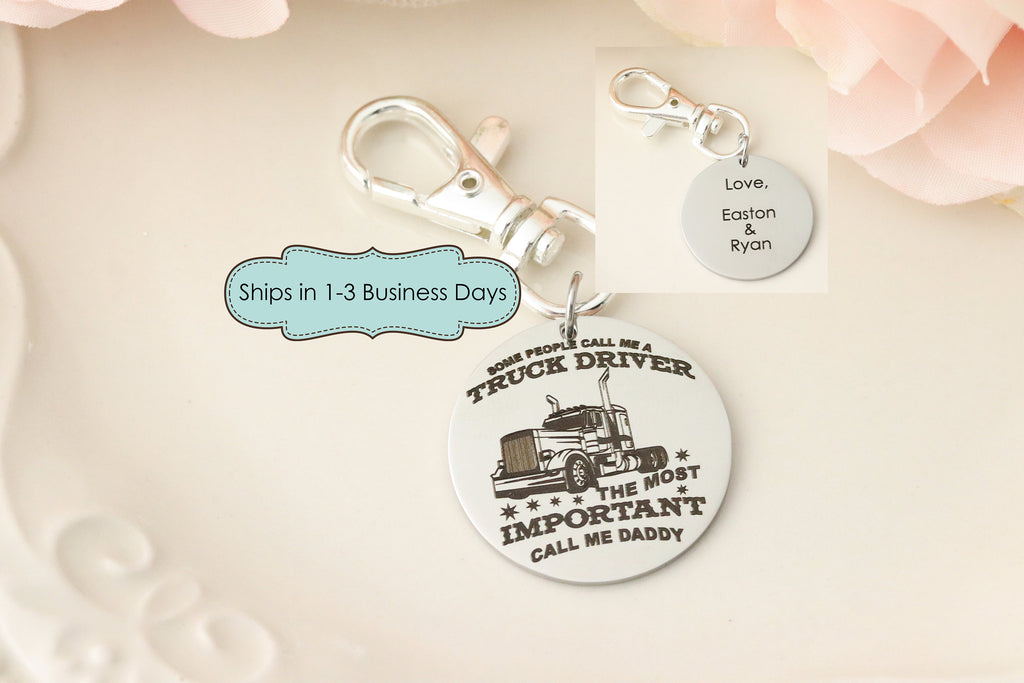 Trucker Dad Keychain - Gift for Truck Driver - OTR Trucker Daddy Keychain - Gift for Truck Driver Dad - Daddy Keychain - Semi Truck Driver