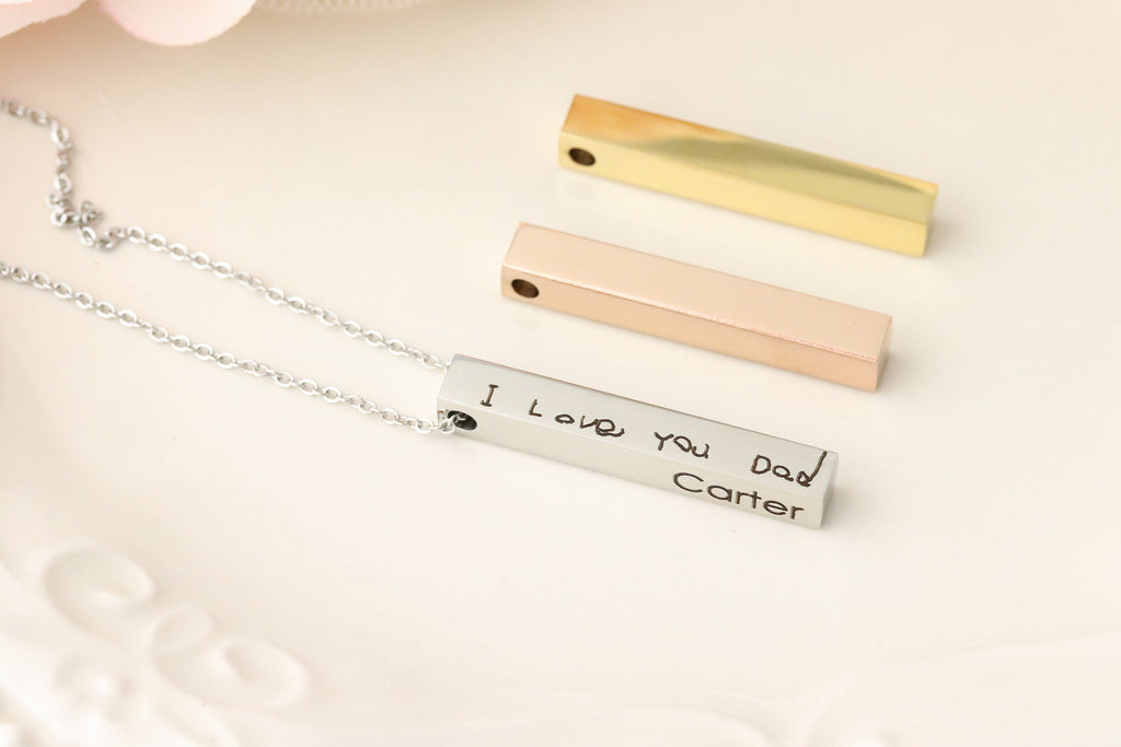 Actual Handwriting Necklace - 4 Sided Bar necklace - Custom Handwriting Jewelry - 3d Bar Necklace - Gift with Actual Handwriting -