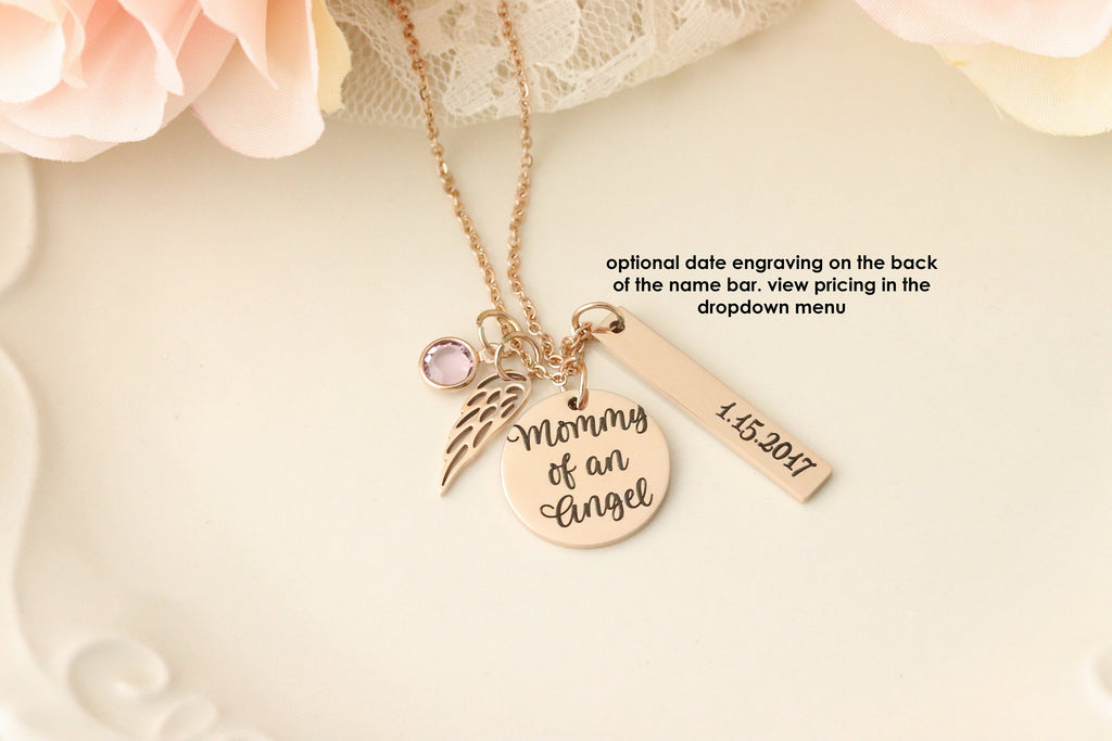 Mommy of an Angel Necklace - Rose Gold Memorial Necklace - Personalized Memorial Necklace - Custom Memorial Gift - Child Loss Necklace