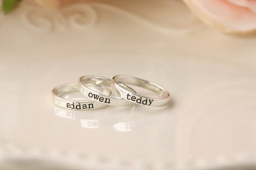 Sterling Silver Personalized Rings - Personalized Name Ring - Stacking Name Rings - Engraved Ring Band - Stacking Rings - Custom Name Ring