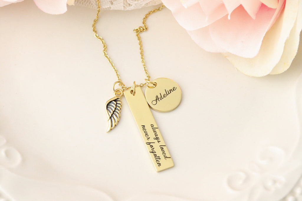 Always Loved Never Forgotten Personalized Memorial Necklace - Custom Memorial Necklace - Memorial Keepsake Jewelry - Personalized Memorial