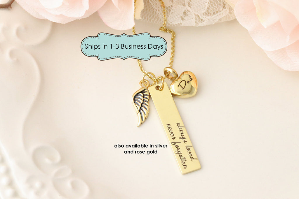 Always Loved Never Forgotten Memorial Necklace with Heart Urn - Pendant For Ashes - Cremation Urn Jewelry - Personalized Urn Necklace