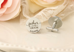 Father of the Bride Cufflinks - Father of the Groom Cuff Links - Gift For Dad on Wedding Day - Wedding Gift for Father-in-Law