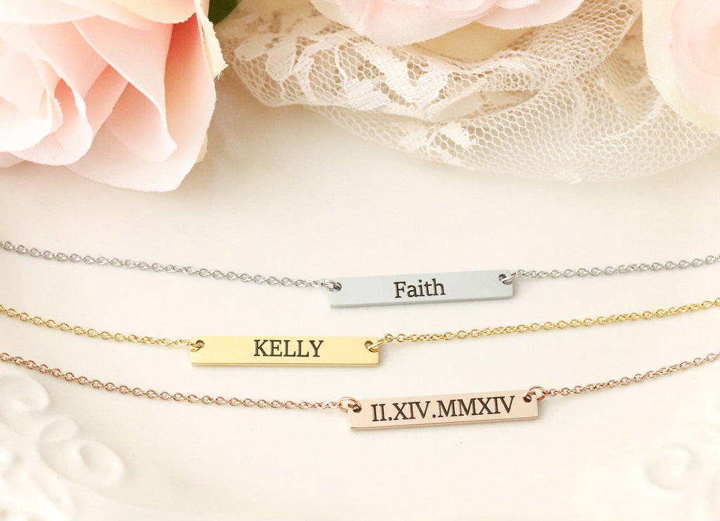 Personalized Bar Necklace - Personalized Name Necklace - Roman Numeral Bar Necklace - Roman Numeral Necklace - Bar Necklace with Names