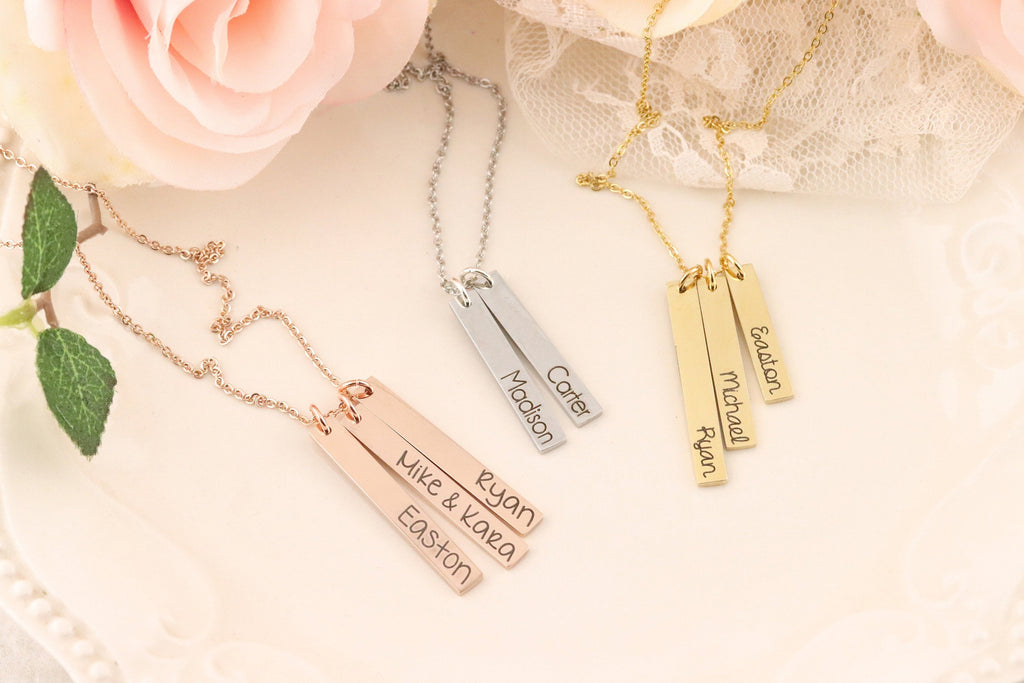 Personalized Bar Necklace - Name Bar Necklace - Jewelry for Mom - Vertical Bar Necklace - Bar Necklace with Names for Mom