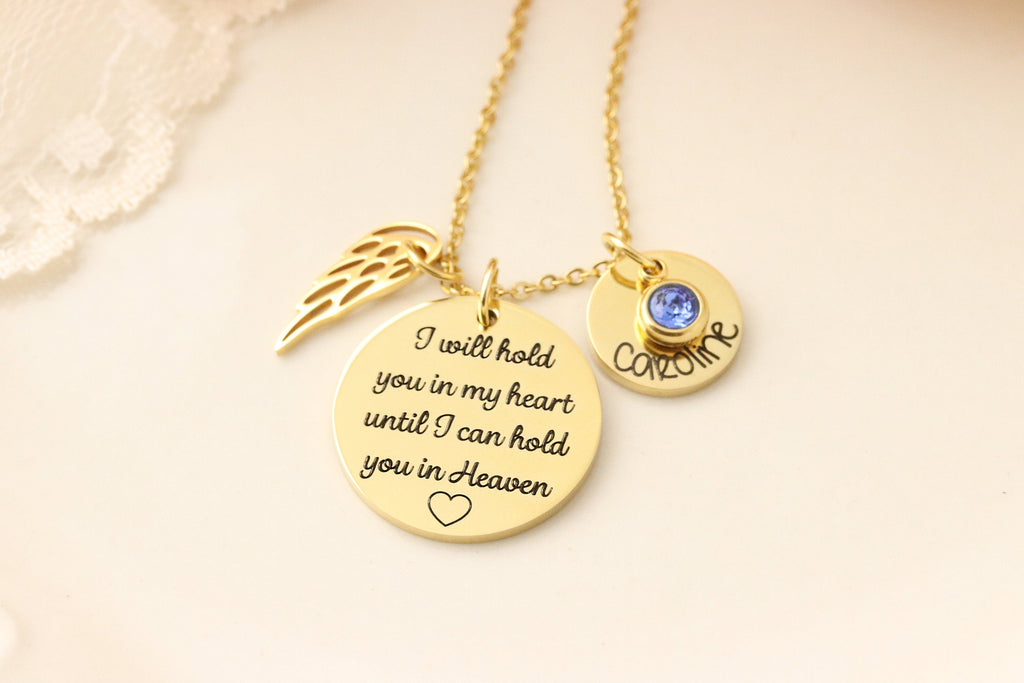 I will hold you in my heart until I can hold you in heaven necklace - Memorial Necklace - Sympathy Jewelry - Gift for Loss of Spouse