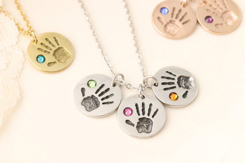 Birthstone Handprint Necklace - Mommy Jewelry - Gift for Mothers Day - Gift for Grandmother - Grandmothers Jewelry - Custom gift for Grandma